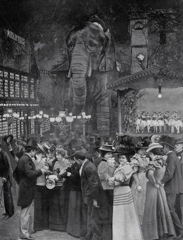 According to records, this is how the Moulin Rouge back garden looked during its earliest years after opening in 1889 at the foot of Montmartre.