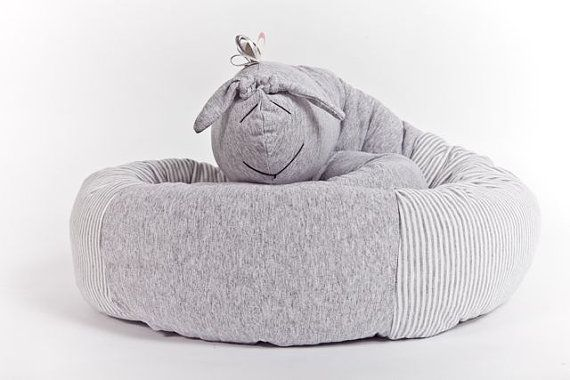 Snake pillow for baby crib, grey CRIB BUMPER for bassinet and baby crib