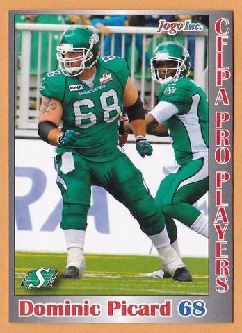 Dominic Picard CFL card 2012 Jogo Pro Player #38 Saskatchewan Roughriders Laval Rouge et Or