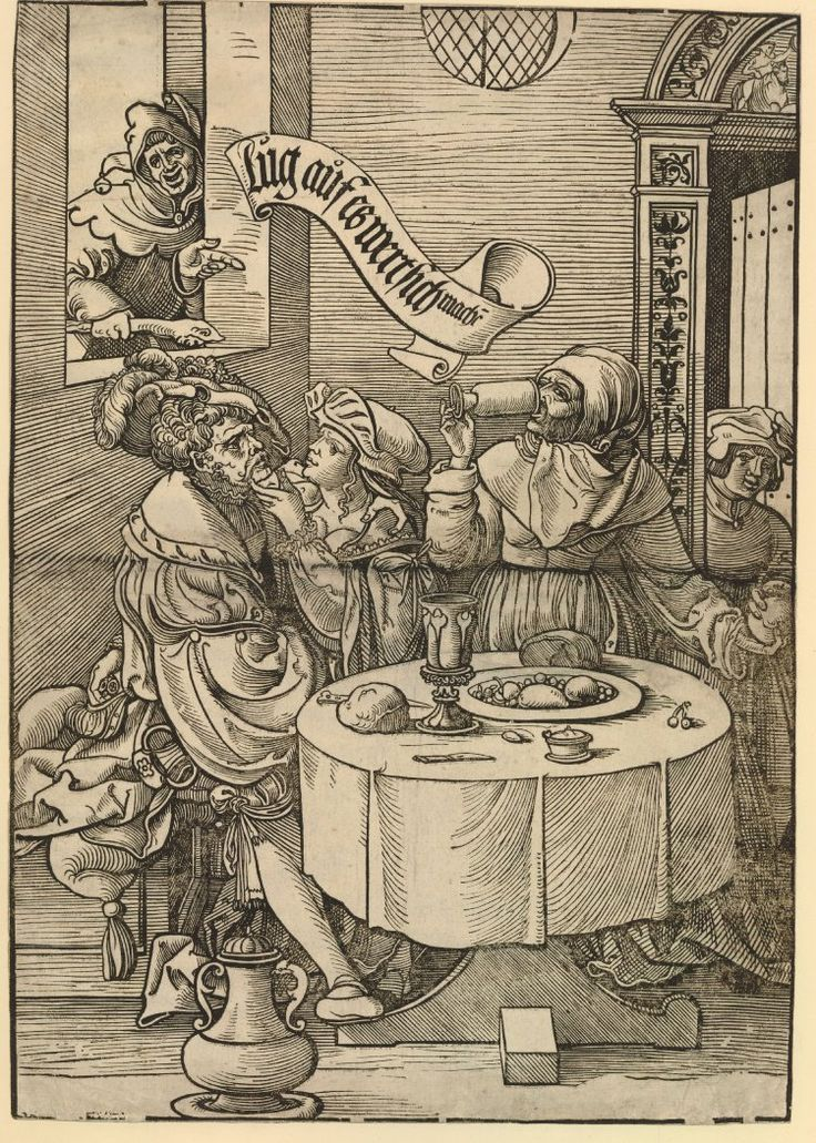 DescriptionThe Procuress; standing behind a table in an interior drinking from a glass and passing something to a female figure with her left hand; at the table a richly dressed man courted by a prostitute at left; above him a window with a fool pointing towards the scene. c.1537 Woodcut Producer namePrint made by: Heinrich Vogtherr II biography School/styleGerman term details Date1537 (circa)