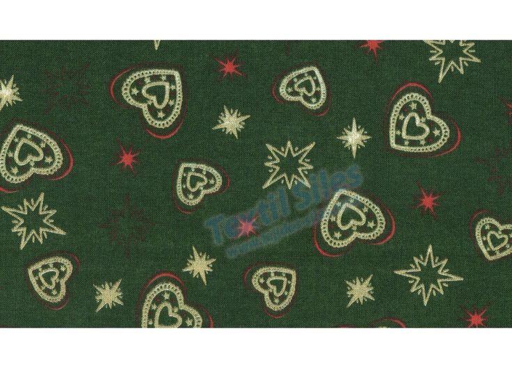 Patchwork Navidad Estrellas Corazones fondo verde