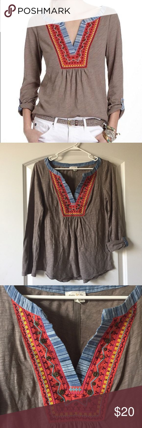 Anthropologie Cuocu Henley Top by Meadow Rue This item is in excellent used pre-loved condition. Can be worn as a long sleeve or rolled up (as shown). Size small. No issues or defects.  SAVE MONEY:  YES ✅ TRADES YES ✅ OFFERS  YES ✅ BUNDLES OF 2 OR MORE- 10% OFF Anthropologie Tops Blouses