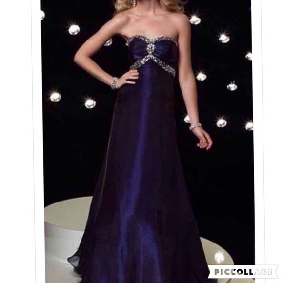 New Alyce size 16 Deep Purple Prom This is a deep purple with clear stones.  It has some flair to the skirt.  Perfect for prom or pageant. Alyce Paris Dresses Prom