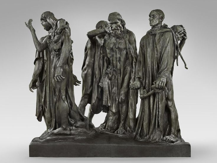 Auguste Rodin, The Burghers of Calais (1884-9) I like this because it is a sculpture using bronze metal and i like sculptures. I read the description about this artwork that this sculpture was made life size and made from ground level which was one of the first times this had been done as normally they were higher.