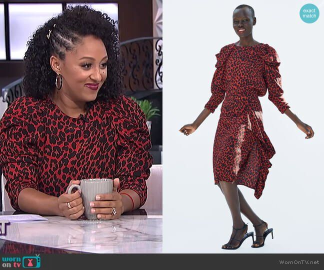 2565049f4f1 Tamera s red leopard print top and skirt on The Real. Outfit Details  https