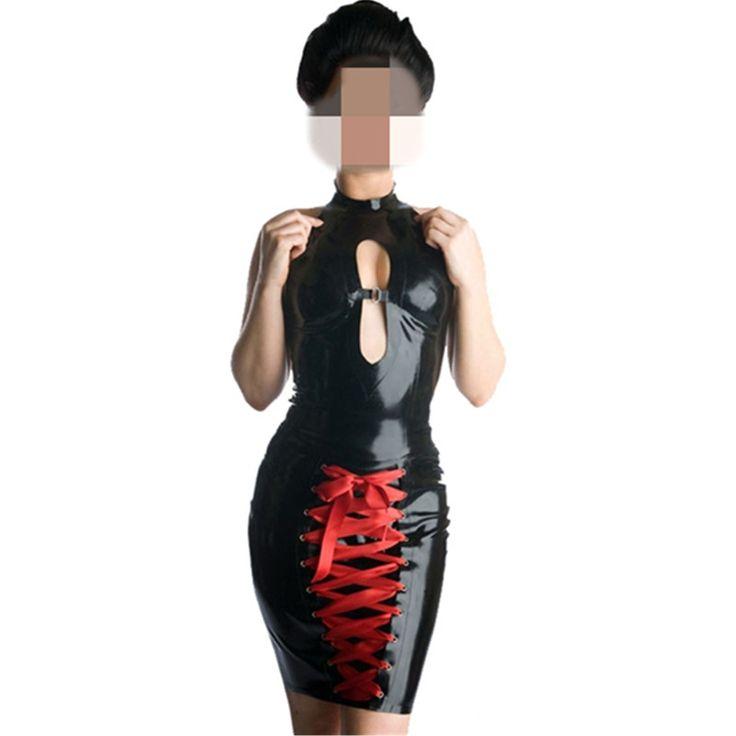 Cheap Fine Women Black Faux Leather Mini Pencil Dress Red Ribbon Lace-Up Gothic Style Bandage Bodycon Exotic PVC Catsuit #Affiliate