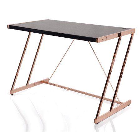 Acme Finis Desk with USB Dock, Black & Rose Gold