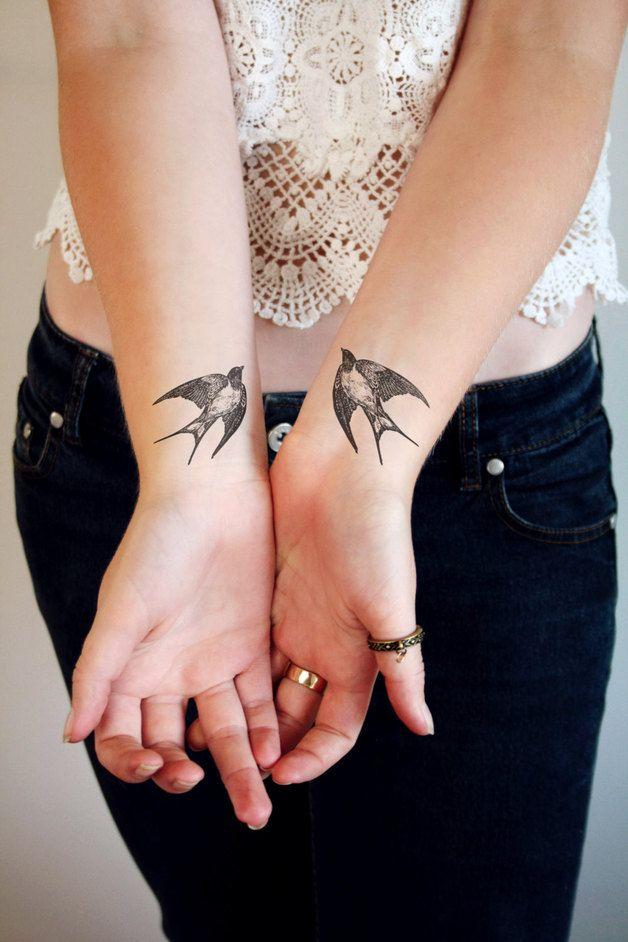 Vintage swallow temporary tattoo, festival hit, bird  body sticker – a unique product by Tattoorary en.dawanda.com