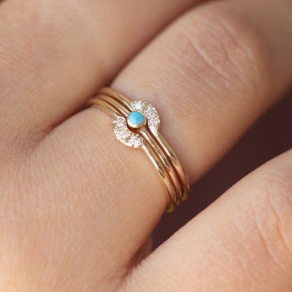 Trinity jeu de mariage - bague de fiançailles de pierres précieuses & Double bague Couronne - 14k or jaune