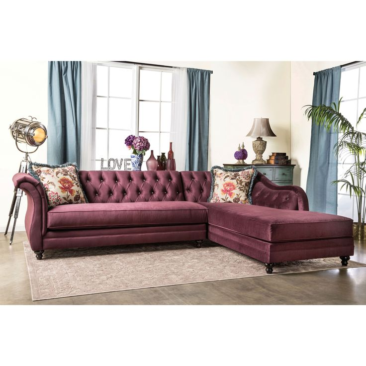 Furniture Of America Elegant Aristocrat Tufted Sectional (Grey) (Fabric)