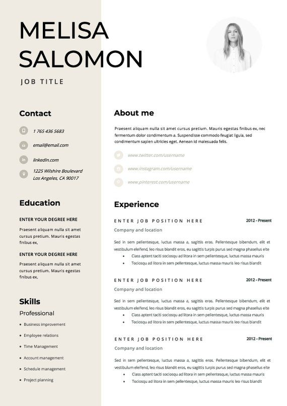 Resume Template Cv Template Resume Cv Design Teacher Resume Curriculum Vitae Cv Instant Download Resume Resume Templates Cv Resume Template Professional Downloadable Resume Template Modern Resume Template