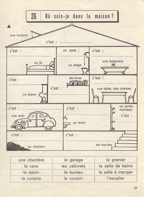 où suis je dans la maison?  Link has many French Worksheets