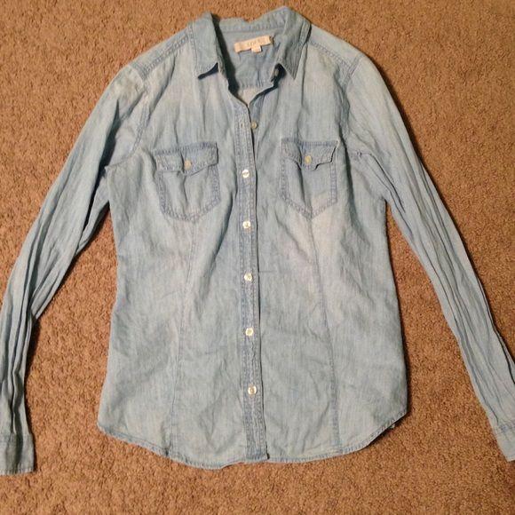 Loft long sleeve button up denim shirt awesome long sleeve for Awesome button down shirts