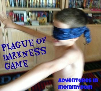Plague of Darkness game - blindfold the Egyptian who has to try to find the Israelites (blindmans bluff)