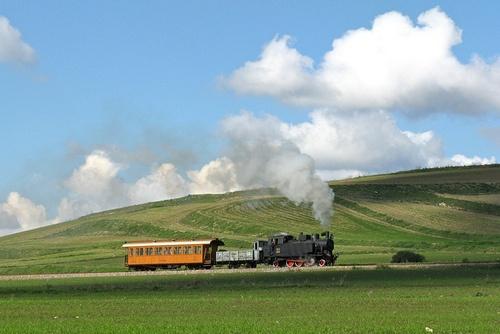 Old steam train celebrating the 125th anniversary of the Cagliari-Mandas railway.