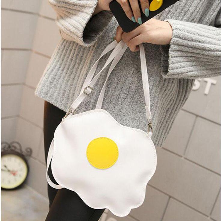 t Funny white bag messenger bag Omelette shaped women small shoulder bag