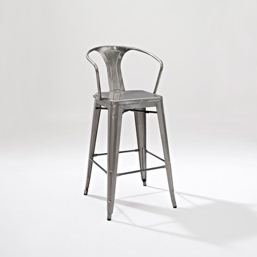 Crosley Amelia Metal Cafe Barstool with Back in Galvanize...