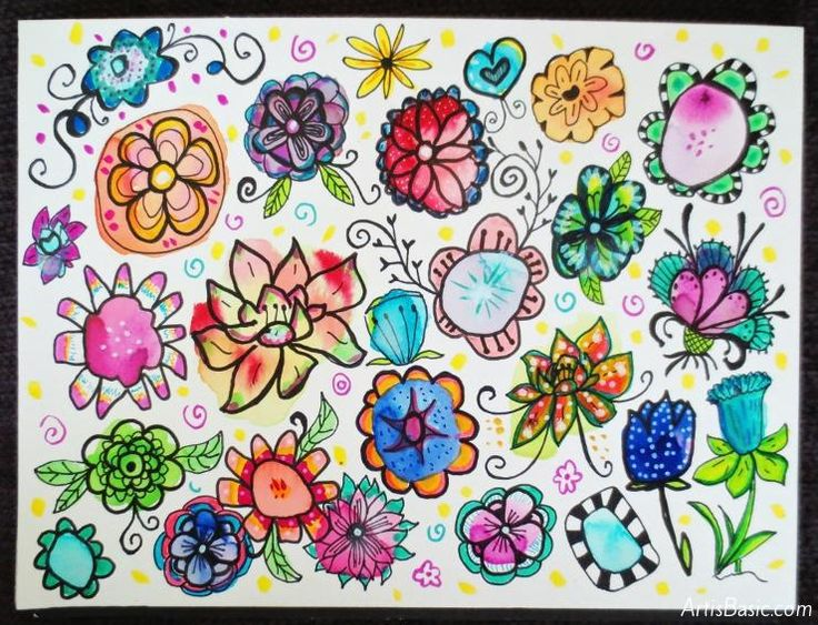 How to make your own Watercolor Flower Doodles.  Could be used as collage paper afterwards?