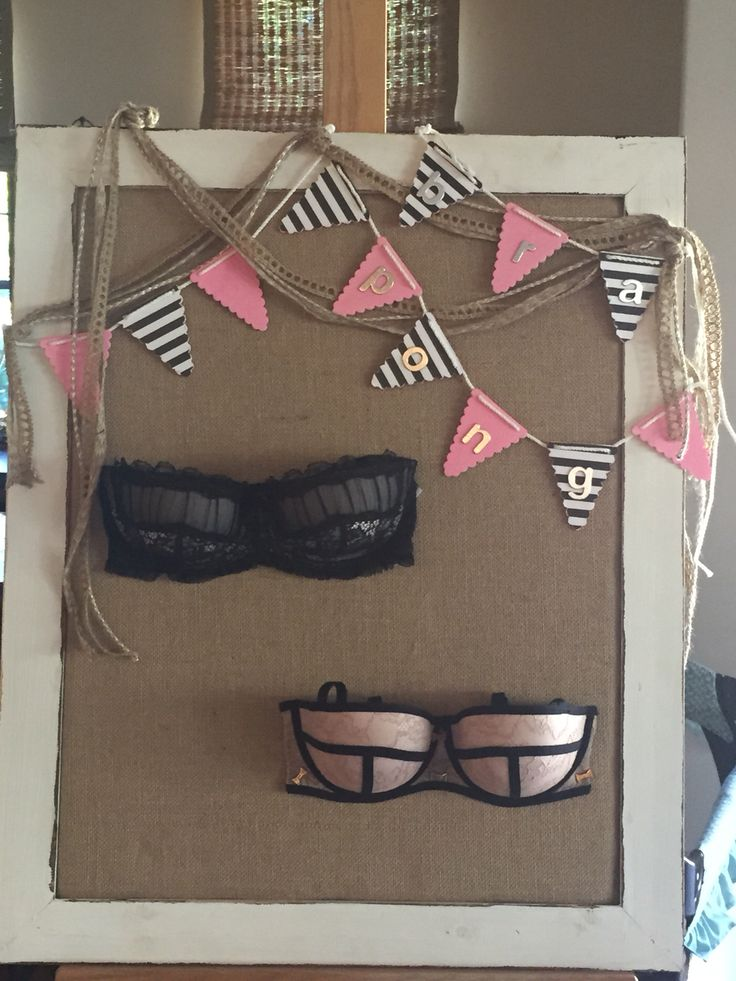 Bra pong board I made for my friends lingerie shower!