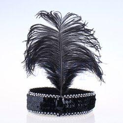 veer hoofdband pailletten flapper dress kostuum haarband hoofddeksel jw2067 charleston in Hoofdbanden van Apparel & Accessories op Aliexpress.com