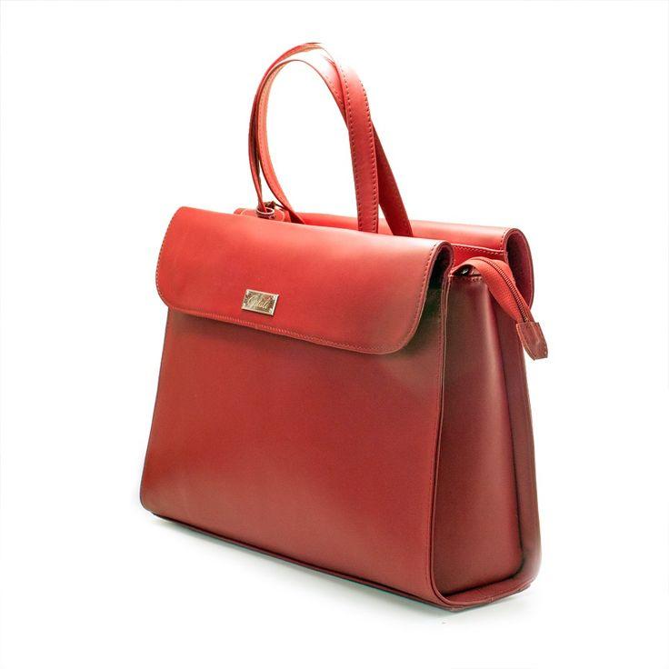 Geanta office din piele rosie, geanta dama