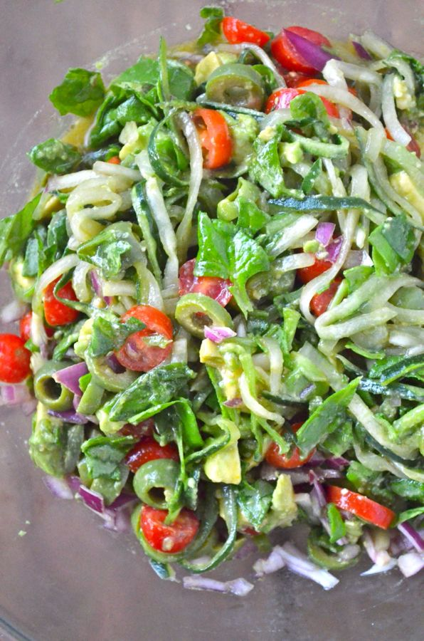 Greek Cucumber Noodles - Raw and ready in 20 minutes! #gf #glutenfree #vegan #vegetarian