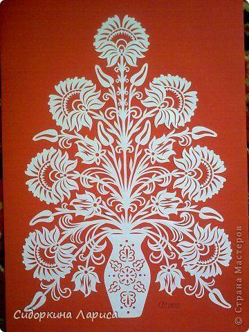Картина панно рисунок Вырезание Букет в вазе три новые работы Бумага фото 1