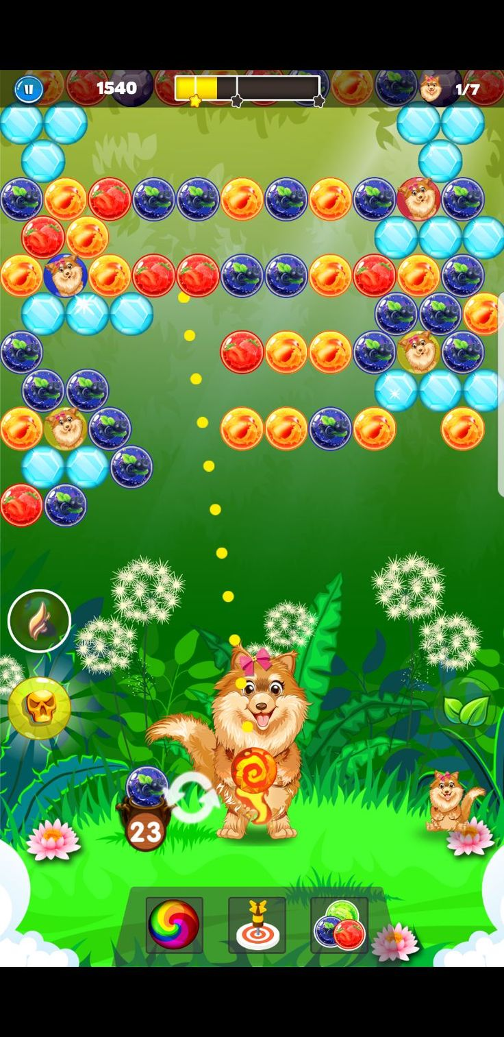 You have to make the strategy to blast the similar color balls to pop them up. The more balls combinations you will pop together, the higher scores you will get. #puzzle #pop #game #dog #doggy #bubble #shooter