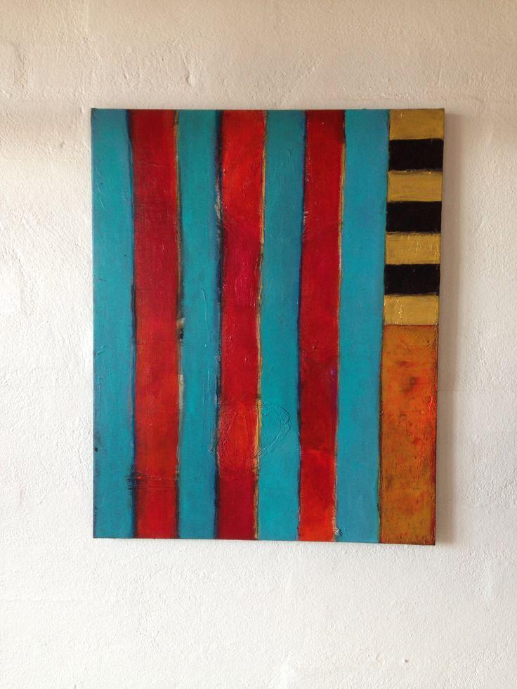 Abstrakt maleri malet af kunstner Kathrine van Godt. Stripes - stribet maleri