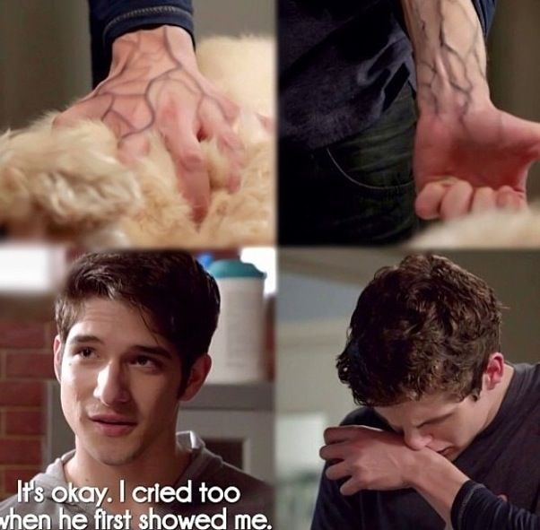 this actually made me cry. isaac was always in pain, and never had anyone there for him to help take away his pain. and he takes just a little bit of the dog's pain away. its just a super meaningful scene. <3 isaac.