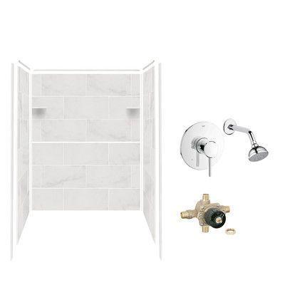 Samson Solid Surface Three Panel Shower Wall Kit Color: White Carrara