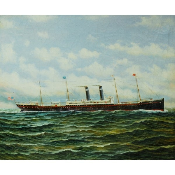 Long steam ship on surfy ocean lateen cheap oil painting for Cheap canvas paintings for sale