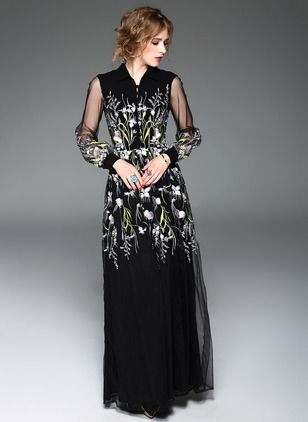 Polyester Silk Floral Long Sleeve Maxi Vintage Dresses (1018610) @ floryday.com
