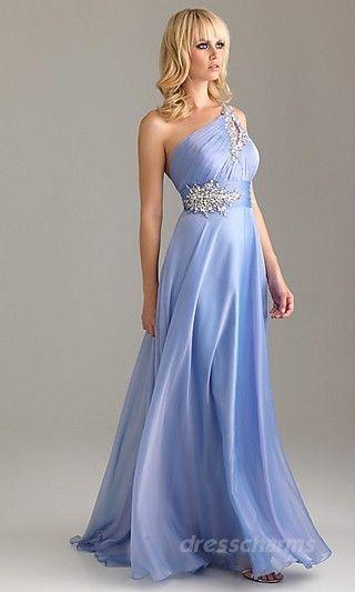 A-Line Chiffon One-Shoulder Floor Dress Charm87761