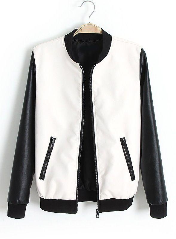 White Contrast Long Sleeve Pockets PU Jacket zł108.64