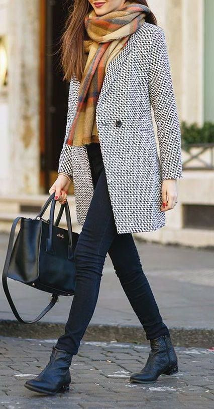Throw a walker coat and statement scarf over any casual outfit for a polished edge.  Virtual Styling at WorkingLook.com