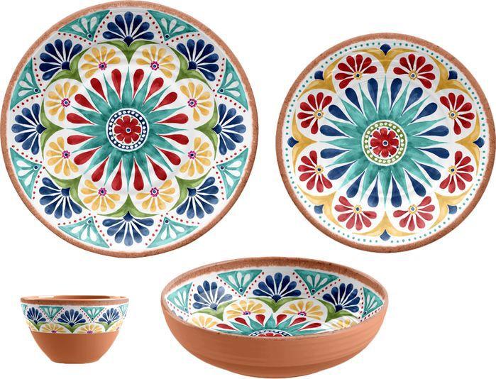 16-Piece Louisa Melamine Dinnerware Set