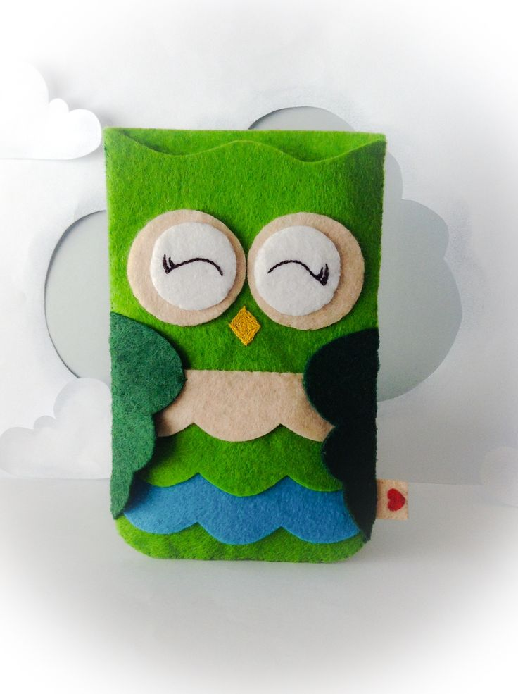 Funda de fieltro para móviles | Felt cover for mobile #owl #buho