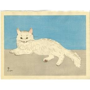Japanese woodblock print White Cat by Tsuguji Foujita (Leonard Foujita)