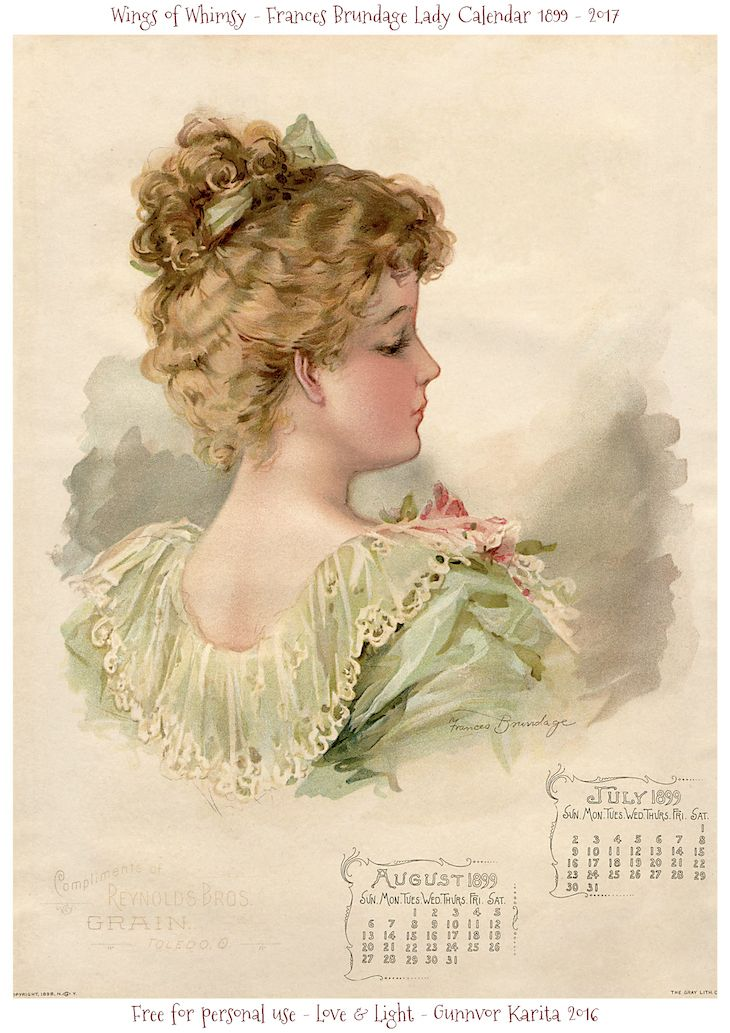 Wings of Whimsy: Frances Brundage 1899 Calendar, several pages