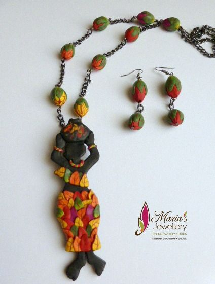 ABS- June challenge - African lady Necklace and matching flower bud ear rings with Polymer clay - Made by Mary Koshy Karuvelil / 'Maria's Jewellery'- inspired by Seraphine Louis painting...