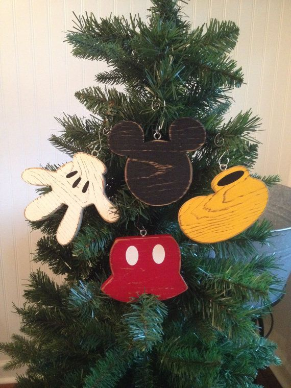 Mickey Mouse Christmas Ornament Disney Wood Christmas Ornament Mickey Mouse Body Parts Distressed Hand Painted Disney Fish Extender