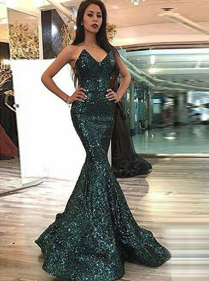 3efa649636 Mermaid Sweetheart Sweep Train Green Sequined Prom Dress - Prom Dresses  2018 - US  124.99