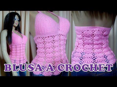 Blusa de Verano para damas en punto abanicos con garbanzos paso a paso - YouTube