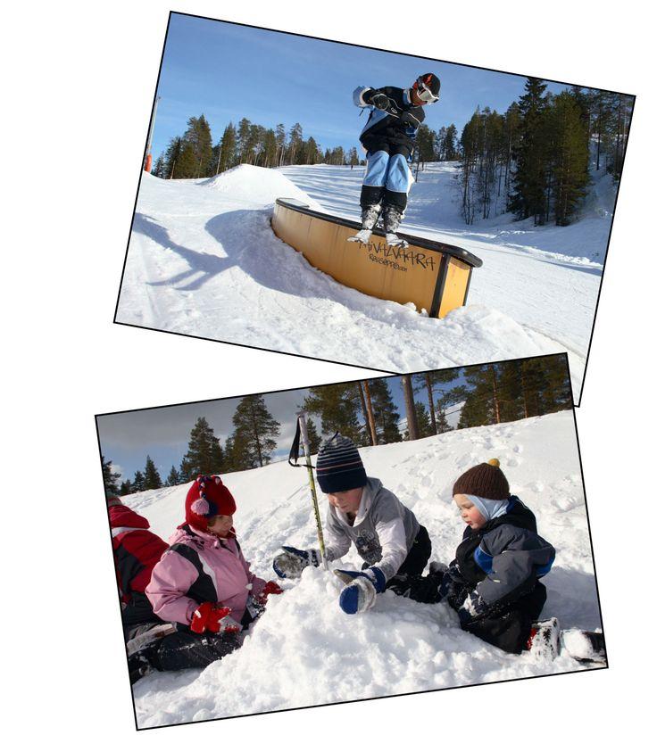 Downhill skiing on the slopes of Taivalvaara Ski Center, Taivalkoski, Lapland, Finland www.taivalvaara.fi