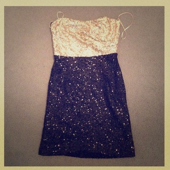 "SALEBlack and gold Prom dress Gold sequenced on top and black sequenced on bottom, great dress for formal or fancy parties, short, worn only once for my winter formal, in great condition, no stains, tears, or holes. I'm 5'""3 and bust 36 to give you size reference Kaur boutique Dresses Strapless"