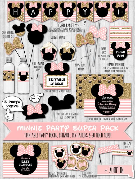 INSTANT DOWNLOAD Gold Glitter & Blush Pink Minnie Birthday Party Pack, 1st Birthday Party Minnie, Invitations, Minnie Mouse Baby Shower by WonderBash