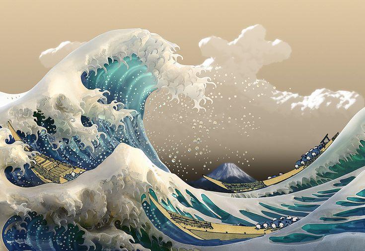 Японская картинка волны, днем рождения