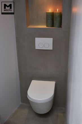 Door ons gemaakte betonlook badkamer met betonstuc en hout. www.molitli-interieurmakers.nl