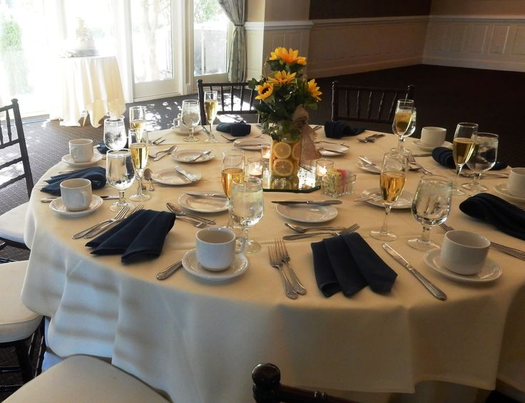 Navy Blue U0026 Yellow Table Setting At Hidden Creek Country Club   Sunflower U0026  Lemon Centerpieces